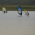 Summer windsurfing on Loch Bhasapol, Isle of Tiree